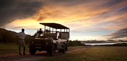 Safari truck at sunset